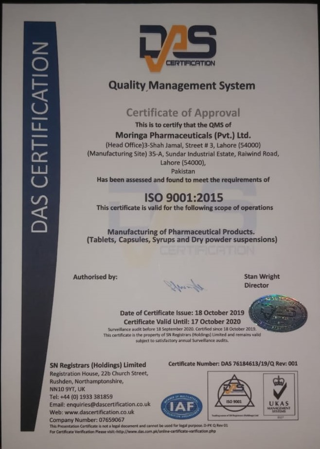 ISO certification 9001. 2015